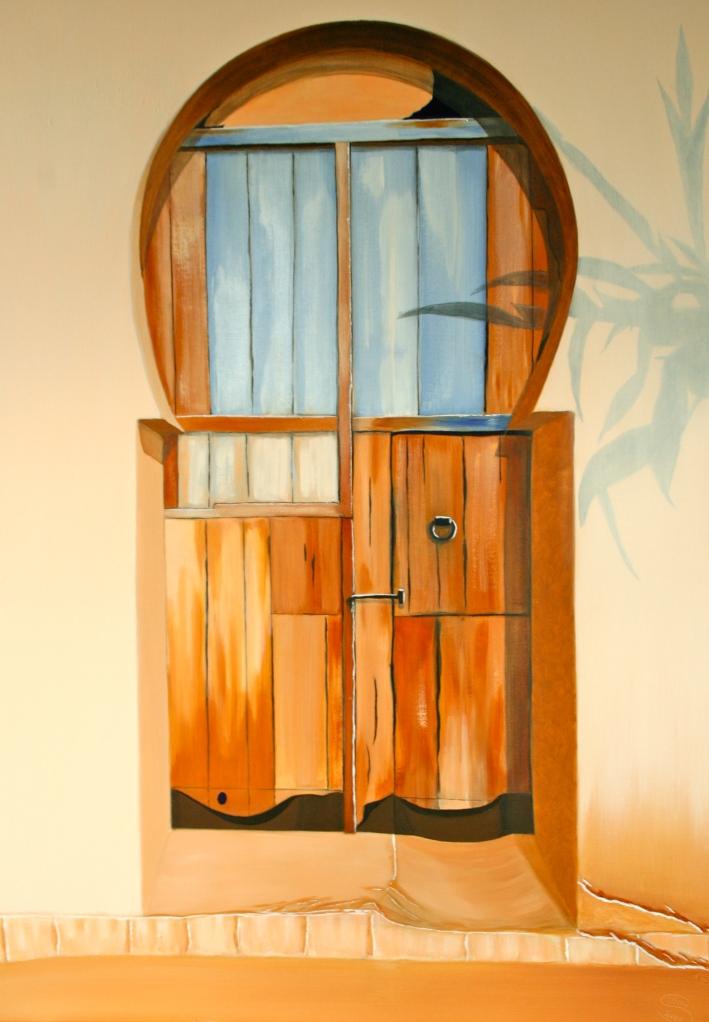 Die Tür in der Mauer Öl auf Leinwand 100 x70