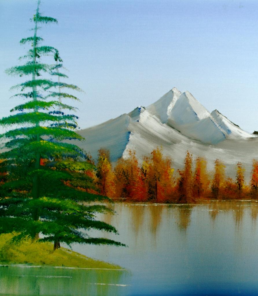 Herbst am See Öl auf Leinwand 60 x60